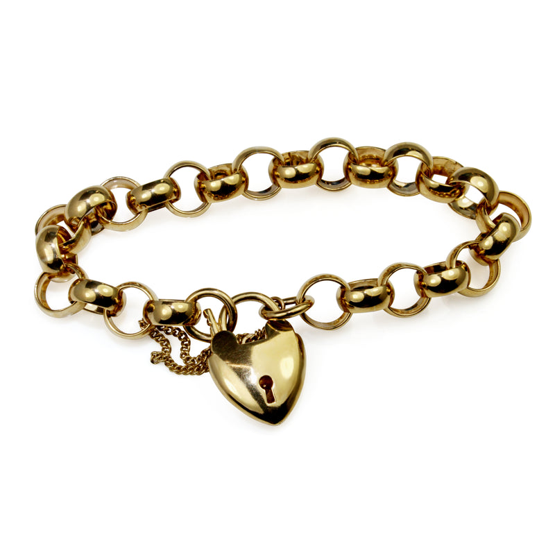 9ct Yellow Gold Belcher Link Bracelet with Heart Padlock Clasp