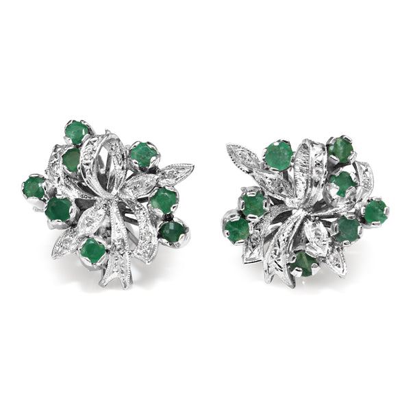 Palladium Emerald and Single Cut Diamond Vintage Earrings