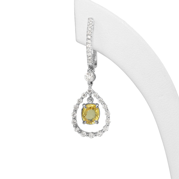 18ct White Gold Yellow Sapphire and Diamond Drop Earrings