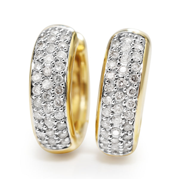 14ct Yellow and White Gold Diamond Hoop Earrings