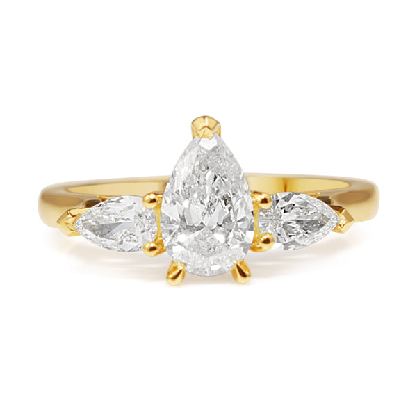 18ct Yellow Gold 3 Stone Pear Diamond Ring