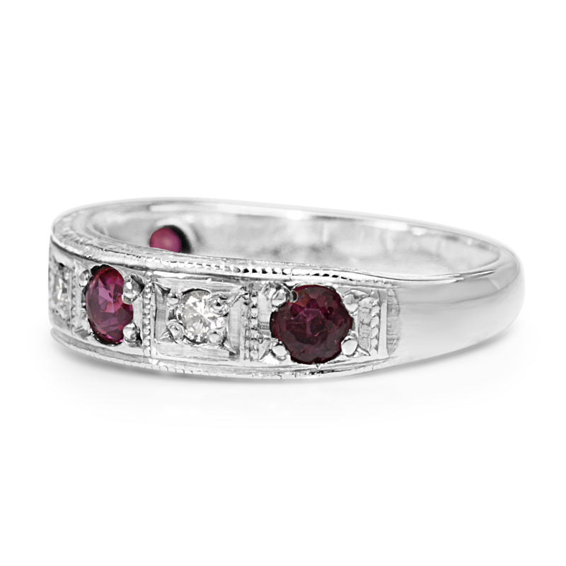 18ct White Gold Ruby and Diamond Band