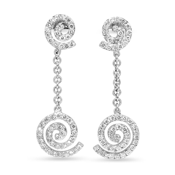 14ct White Gold Diamond Drop Swirl Earrings