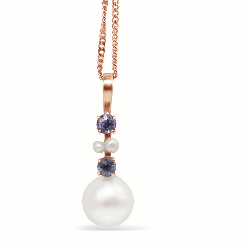 14ct Rose Gold Antique Sapphire and Pearl Necklace