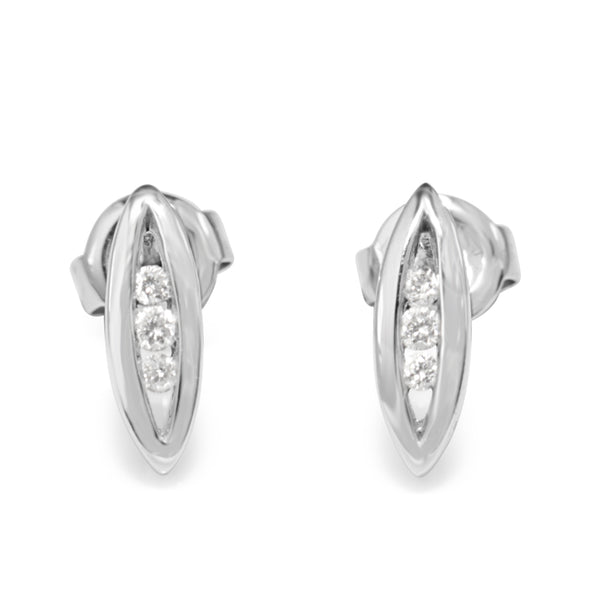 9ct White Gold Marquise Channel Set Diamond Earrings