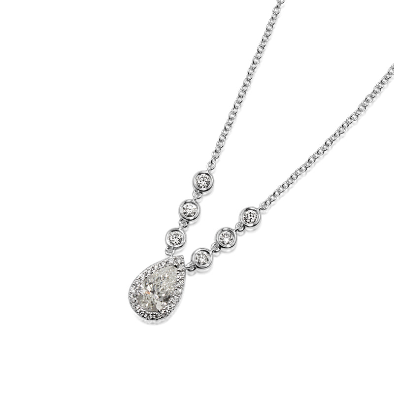 18ct White Gold Pear Diamond Halo Necklace