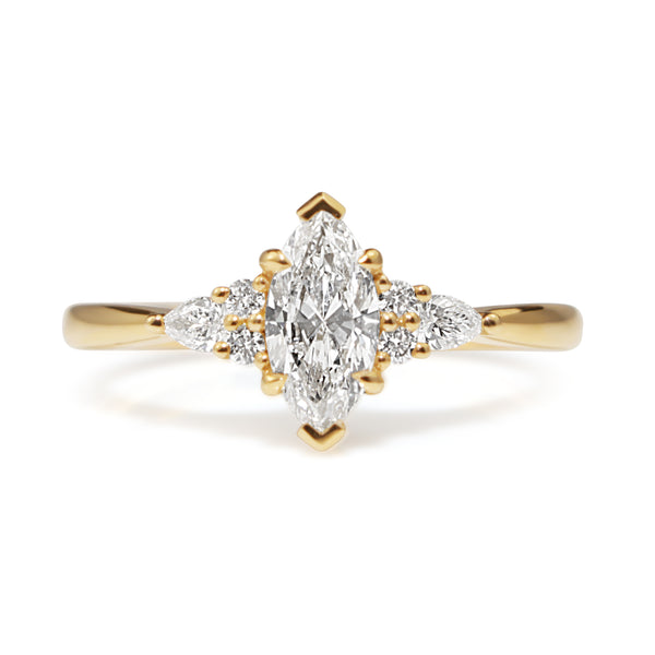 18ct Yellow Gold Marquise and Pear Diamond Ring
