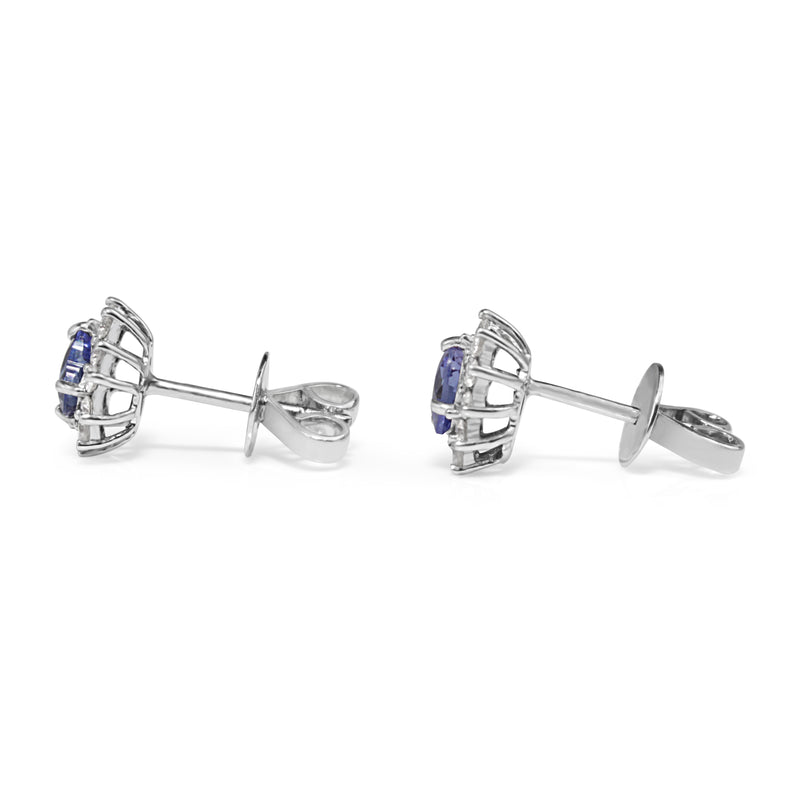 18ct White Gold Tanzanite and Diamond Heart Halo Earrings