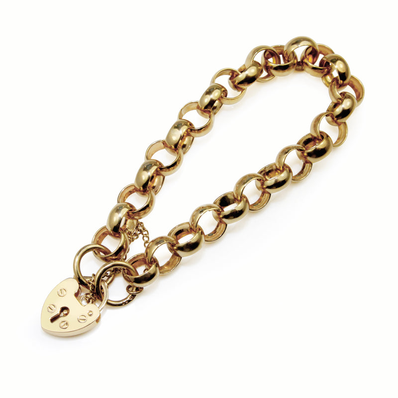 9ct Yellow Gold Belcher Link Bracelet with Padlock Clasp