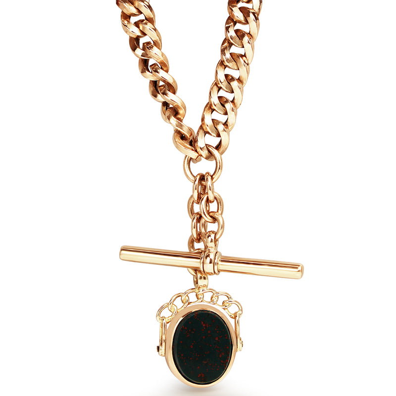 9ct Rose Gold Antique Graduated Curb Link Fob Chain with BloodStone Spinner
