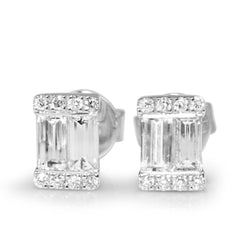 18ct White Gold Baguette Diamond Earrings