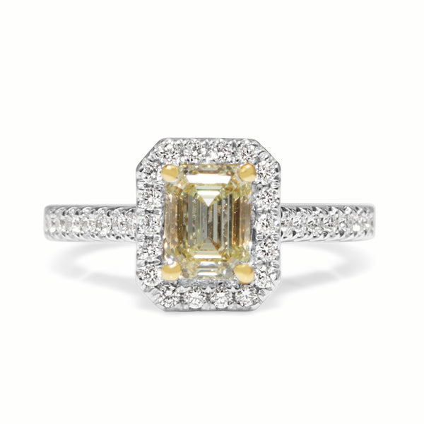 18ct Yellow Gold Yellow Diamond Halo Ring