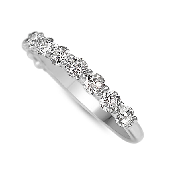 9ct White Gold Shared Claw Diamond Band