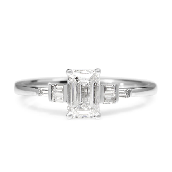 Platinum Emerald Cut Deco Style Diamond Ring