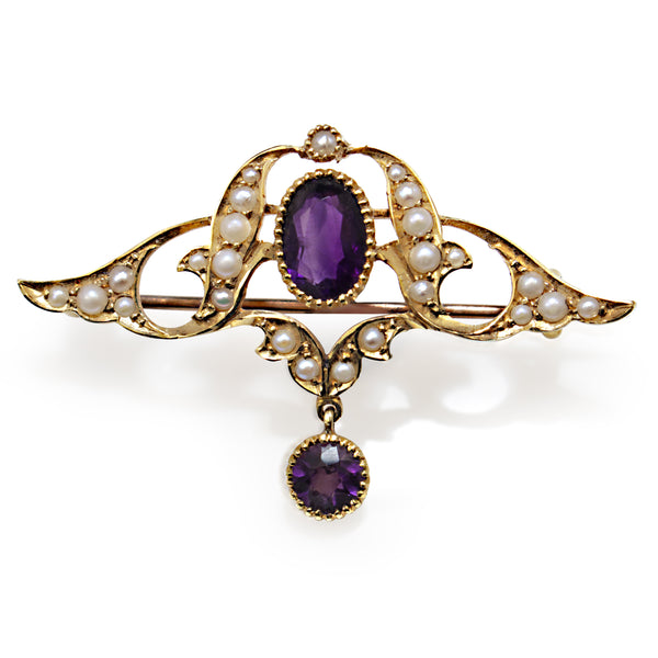 15ct Yellow Gold Antique Amethyst and Seed Pearl Brooch
