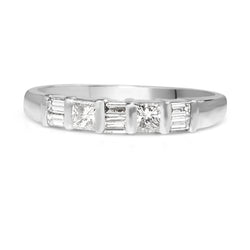 18ct White Gold Baguette and Princess Cut Diamond Band