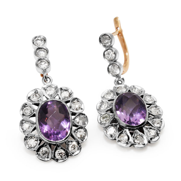 18ct White and Rose Gold Antique Amethyst and Diamond Earrings