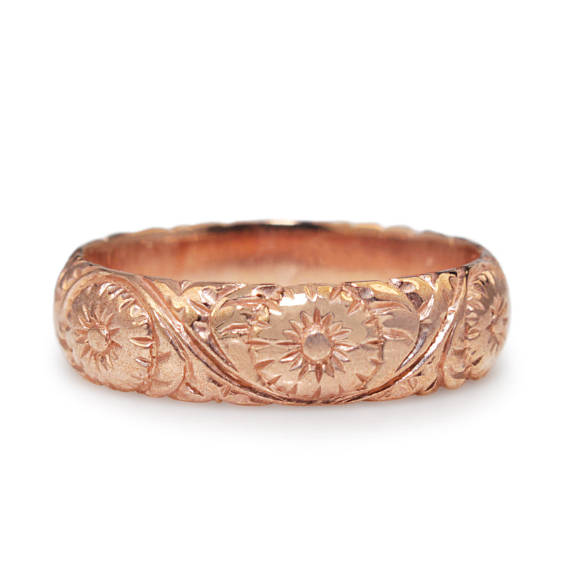 9ct Rose Gold Engraved Floral Band