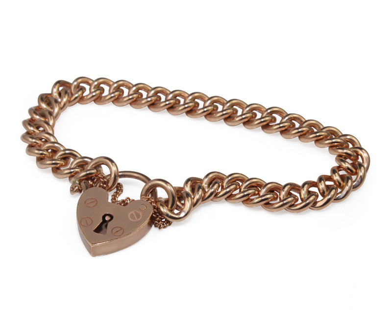 9ct Rose Gold Curb Link Bracelet with Heart Padlock