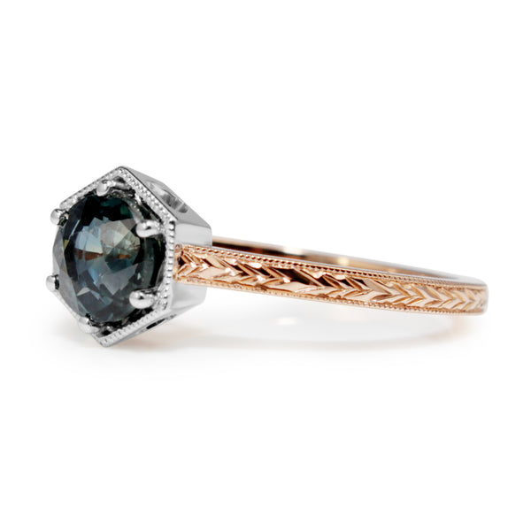 18ct Rose and White Gold Vintage Style Sapphire Ring