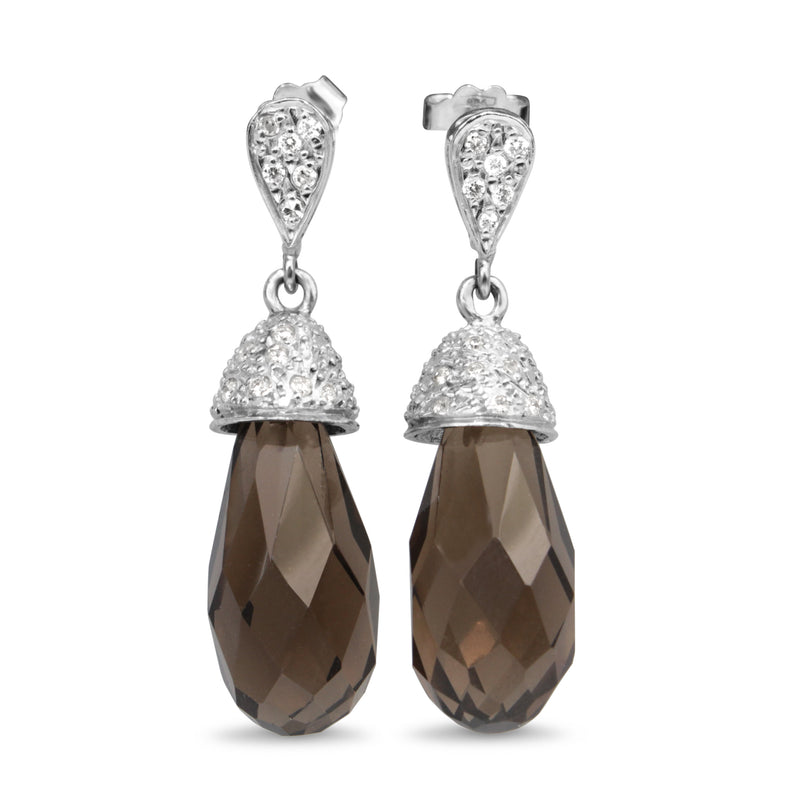 18ct White Gold Topaz and Diamond Drop Earrings