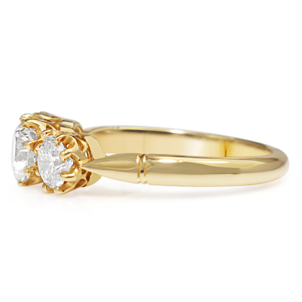 18ct Yellow Gold Antique Style 3 Stone Diamond Ring