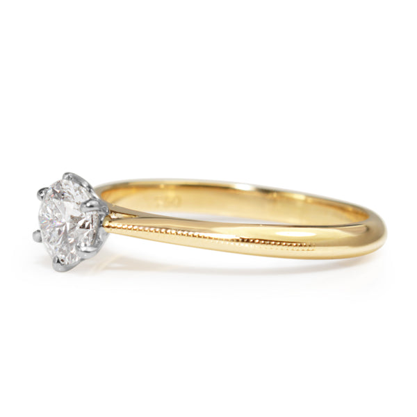 18ct Yellow and White Gold .52ct Diamond Solitaire ring