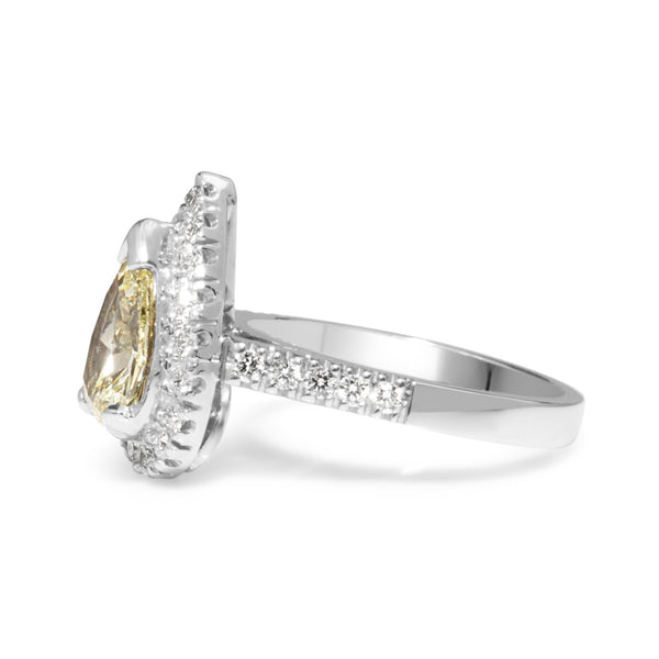 18ct White Gold Yellow Pear Diamond Halo Ring