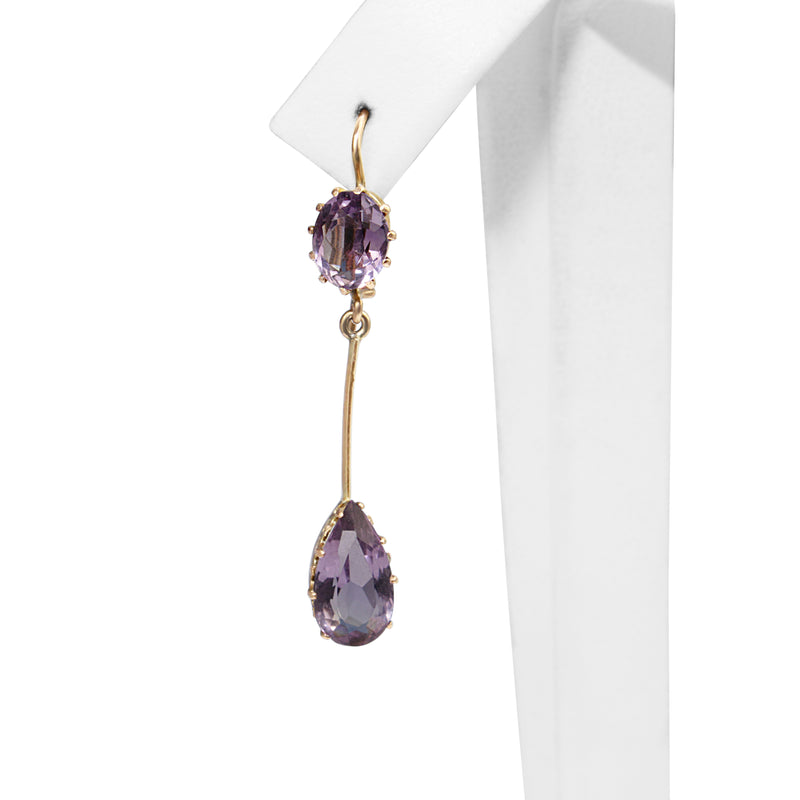 9ct Yellow Gold Antique Amethyst Drop Earrings