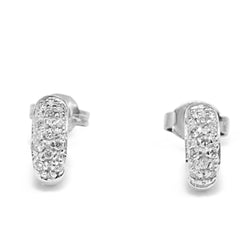 18ct White Gold Half Hoop Pave Diamond Stud Earrings