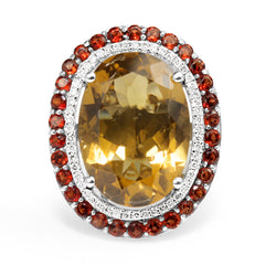 14ct White Gold Citrine, Garnet and Diamond Ring