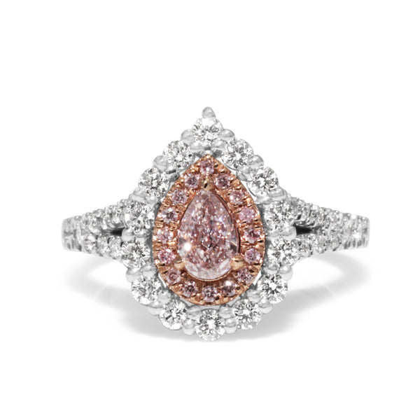 18ct White Gold Pink and White Pear Diamond Halo Ring