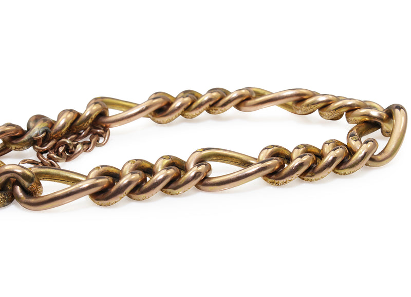 9ct Yellow and Rose Gold Antique 'Day and Night' Curb Link Bracelet