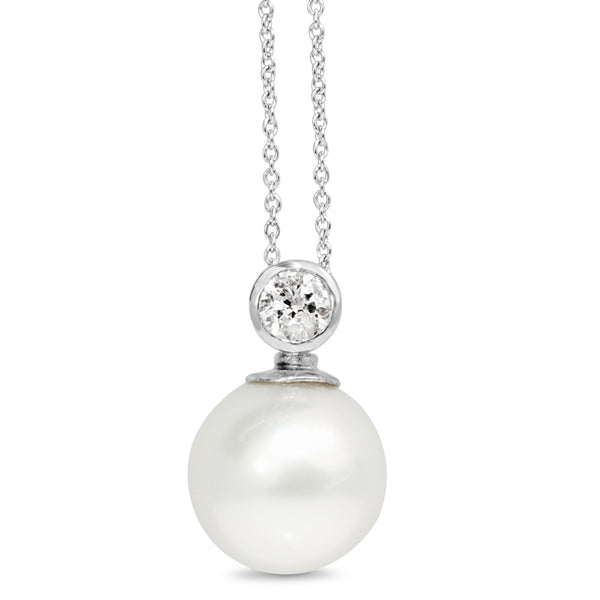 18ct White Gold 14mm South Sea Pearl and Diamond Pendant