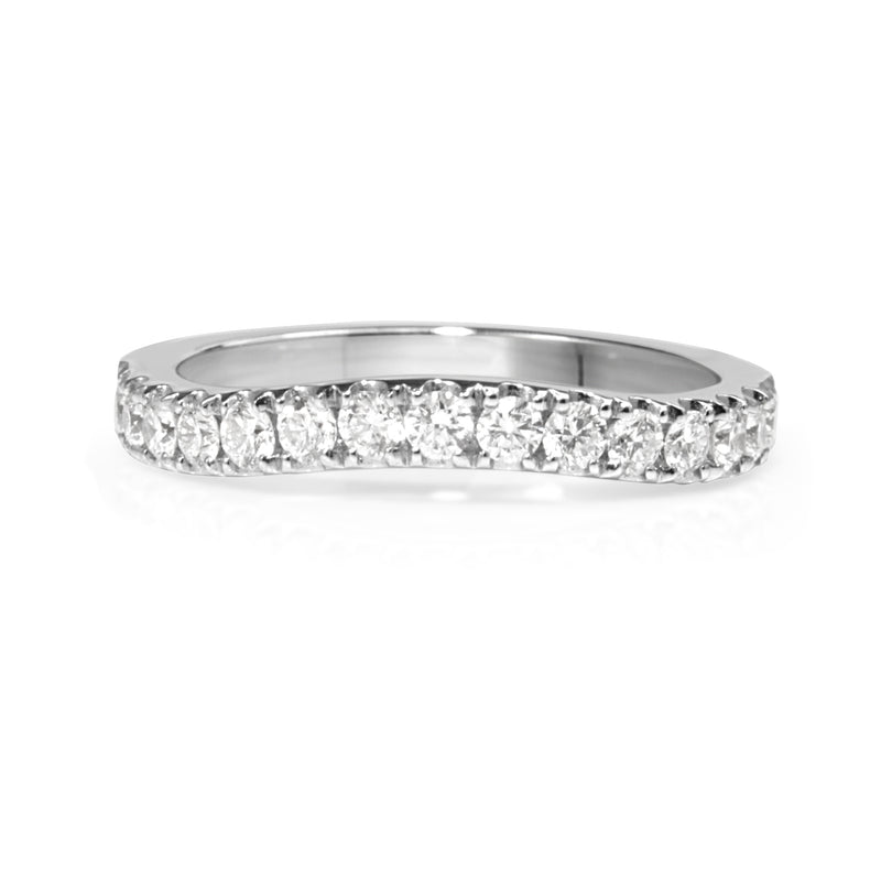 18ct White Gold Curved Diamond Half Hoop Band