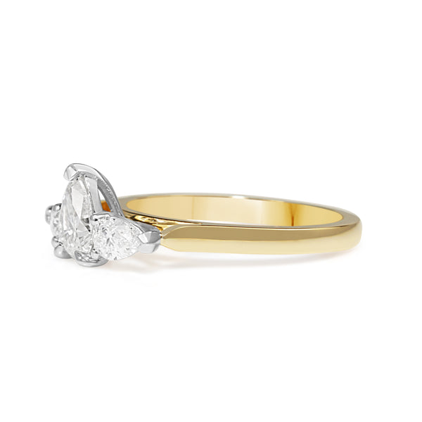 18ct Yellow and White Gold Pear Shape 3 Stone Diamond Ring