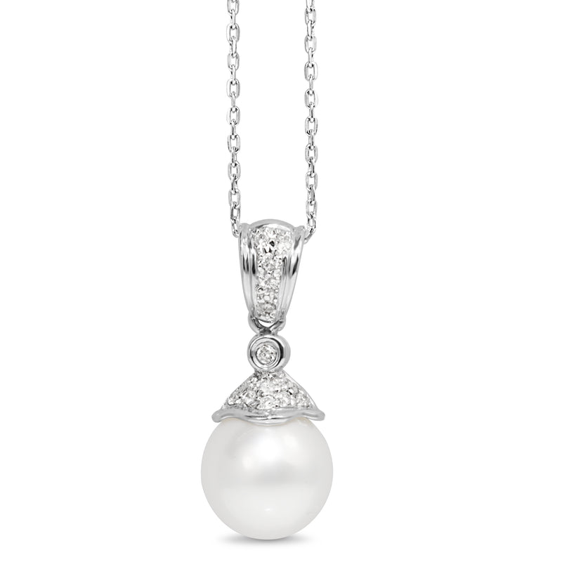 14ct White Gold 10mm South Sea Pearl and Diamond Pendant
