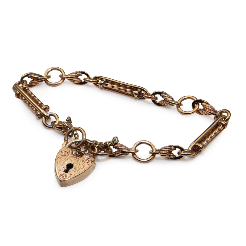 9ct Rose Gold Antique Style 'Prince of Wales' Bracelet with Heart Padlock