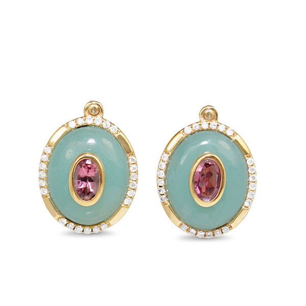 9ct Yellow Gold Amazonite, Tourmaline and Diamond Stud Earrings
