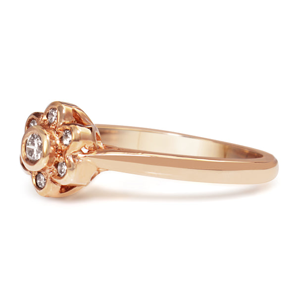 9ct Rose Gold Diamond Daisy / Flower Ring