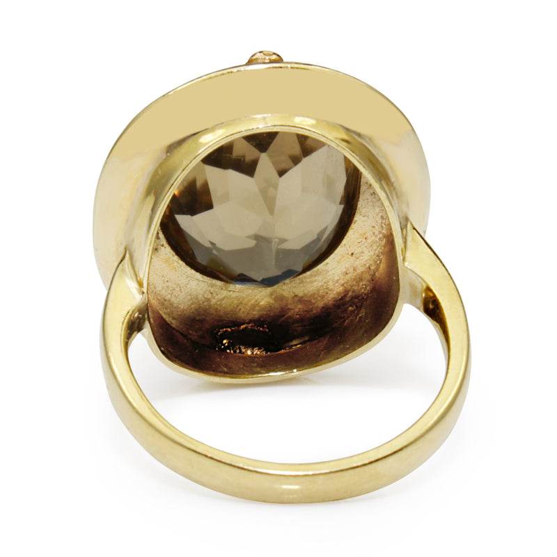 18ct Yellow Gold Antique Citrine Ring with White and Rose Gold Overlay Detail