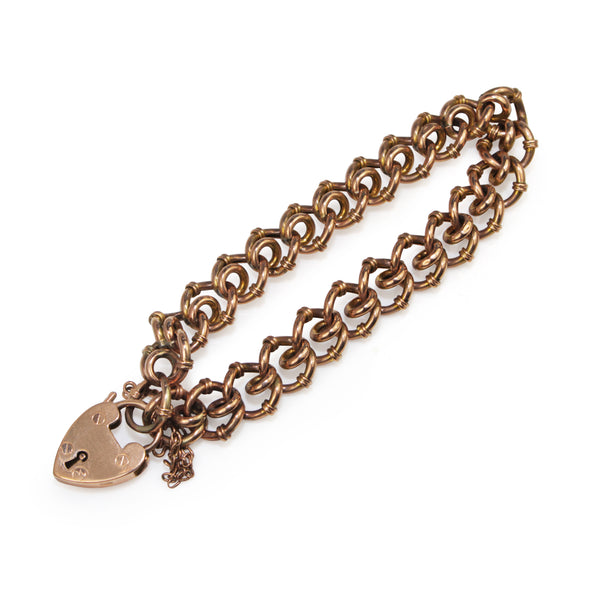 9ct Rose Gold Antique Fancy Link Bracelet with Padlock Clasp