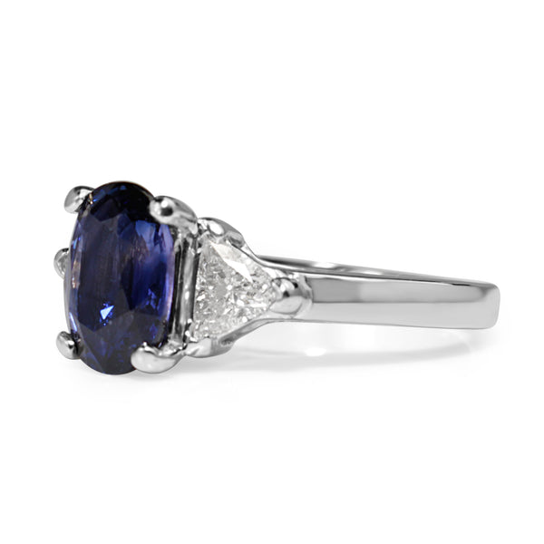 14ct White Gold Purple / Blue Sapphire and Diamond 3 Stone Ring