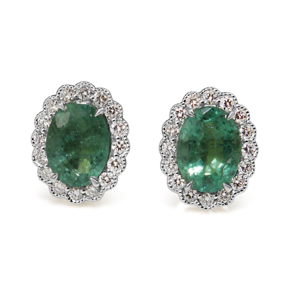 14ct Yellow and White Gold Daisy Style Emerald and Diamond Earrings
