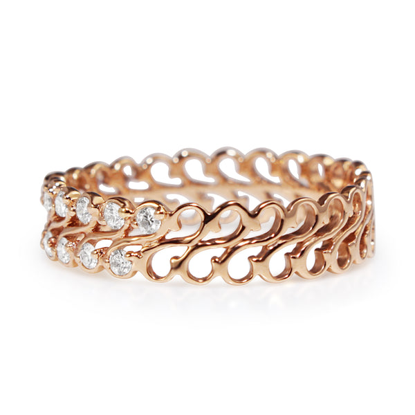 18ct Rose Gold Double Diamond Band