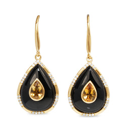9ct Yellow Gold Onyx, Citrine and Diamond Earrings