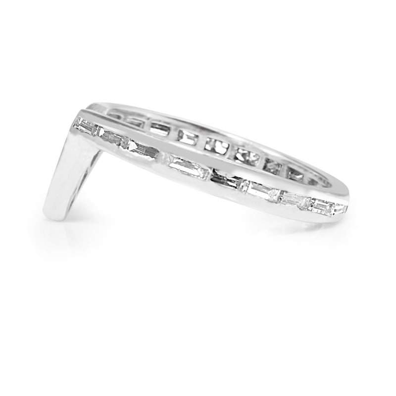 Platinum 'V Shape' All Round Baguette Diamond Band