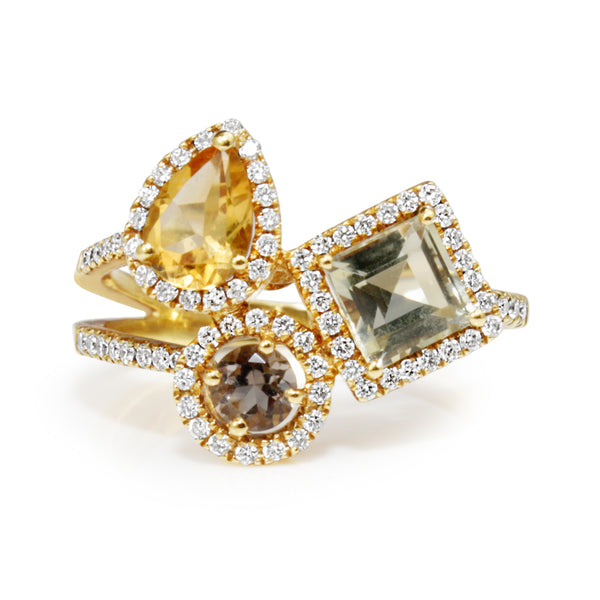 18ct Yellow Gold Citrine, Tanzanite, Green Amethyst and Diamond Ring