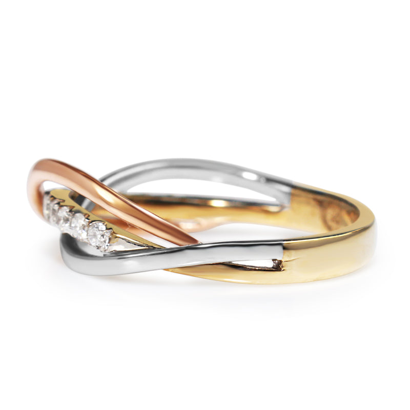 9ct Yellow White and Rose Gold Diamond Ring