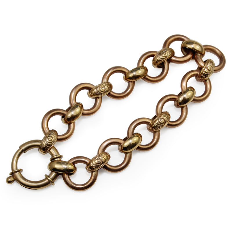 9ct Yellow and Rose Gold Open Link Bracelet with Bolt Clasp